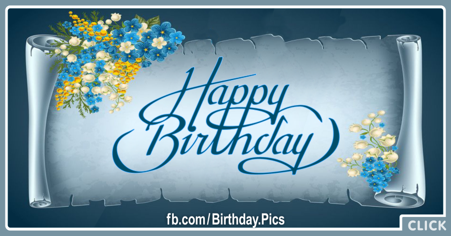 Antique Blue Roll Paper Happy Birthday Card for celebrating