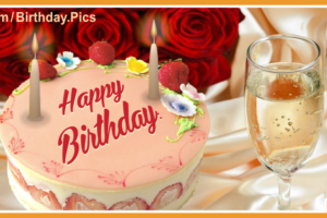 Roses Champagne Cake Happy Birthday Card