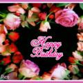 Roses Heart Black Happy Birthday Card
