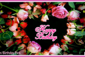 Black Happy Birthday Card With Roses Heart For You
