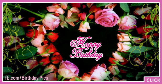 Roses Heart Black Happy Birthday Card