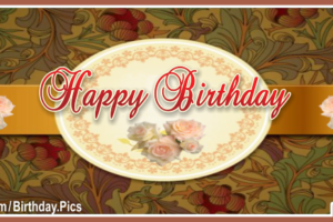 Golden Rose Vintage Happy Birthday Card For You