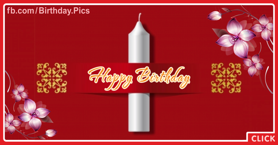 Single Big Candle Happy Birthday Card