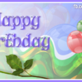 Single Red Rose Blue Balloon Happy Birthday Card