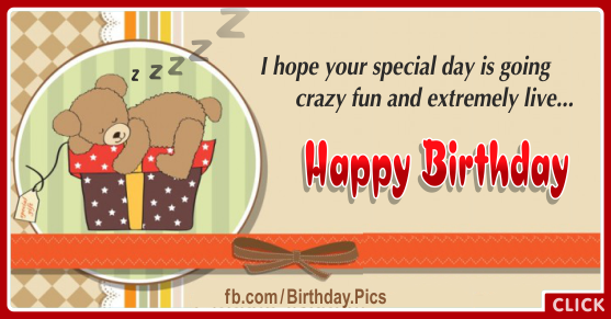 Sleeping Teddy Gift Box Birthday Card