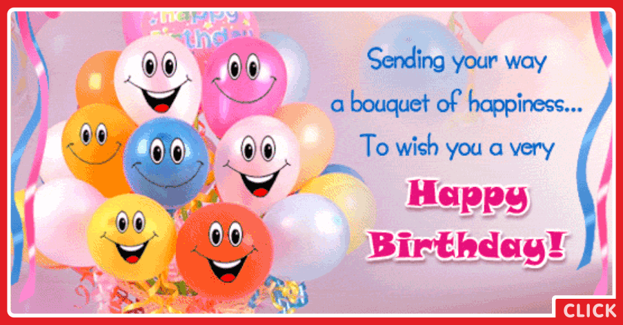 Smiling Cute Balloons Happy Birthday Card