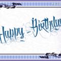 Tattoo Style Blue Happy Birthday Card