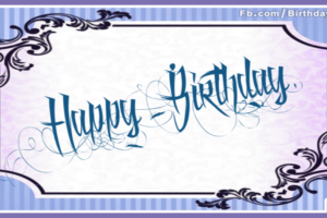 Tattoo Style Blue Happy Birthday Card