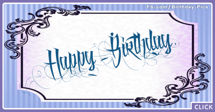 tattoo style blue happy birthday card  happy birthday pictures, Birthday card