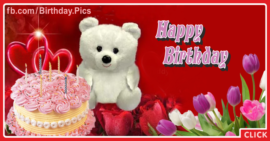 Teddy White Tulips Happy Birthday Card