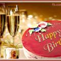 Three Champagne Glasses Happy Birthday Card