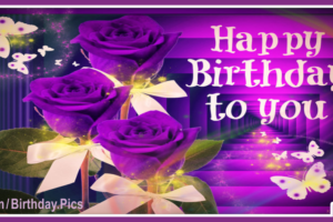 Three Purple Roses Happy Birthday Card