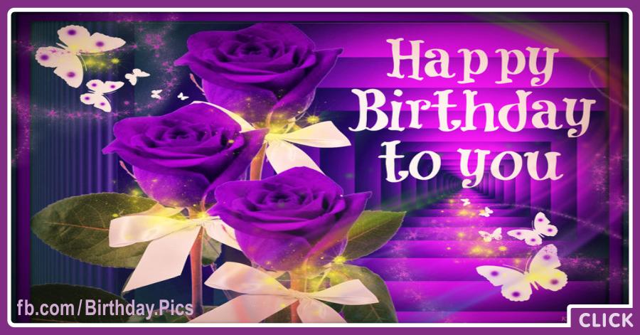 Three Purple Roses Happy Birthday Card