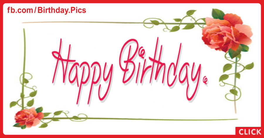 Two Red Roses Happy Birthday Card