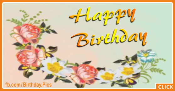 Vintage Flowers Gold Happy Birthday Card