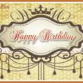 Vintage Gold Ornament Happy Birthday Card