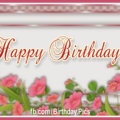 Vintage Purple Frame Happy Birthday Card