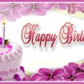Violet Flowers White Cake Happy Birthday Card