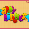 Vivid Color Letters Yellow Happy Birthday Card
