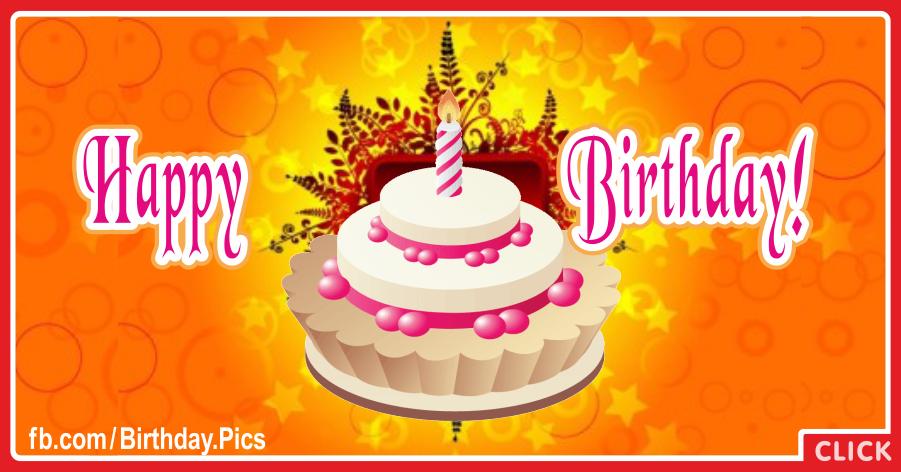 Vivid Orange White Cake Happy Birthday Card