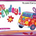 Volksvag Minibus Hippie Birthday Card