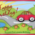 Volksvag Woman Car Happy Birthday Card