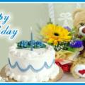 White Cake Teddy Happy Birthday Card