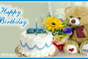 White Cake Teddy Bear Happy Birthday Card For You