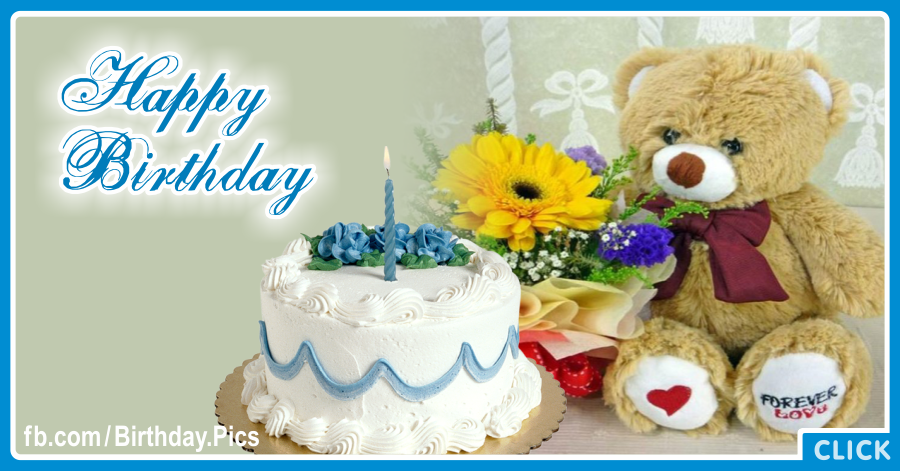 White Cake Teddy Happy Birthday Card