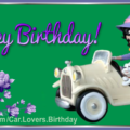 White Car Betty Boop Happy Birthday Card