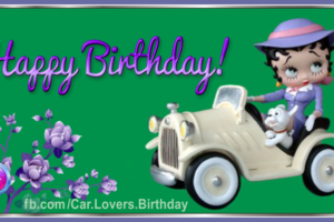 White Car Betty Boop Happy Birthday Card For You