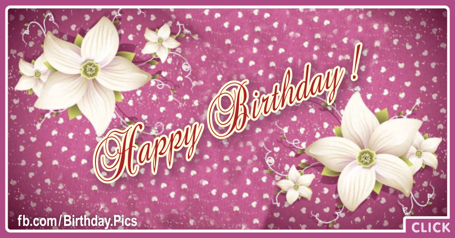 White Flowers Decorated Purple Happy Birthday Card for celebrating