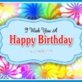 Windmill Flowers Blue Happy Birthday Card