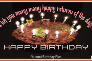 Wish Many Returns Black Happy Birthday Card