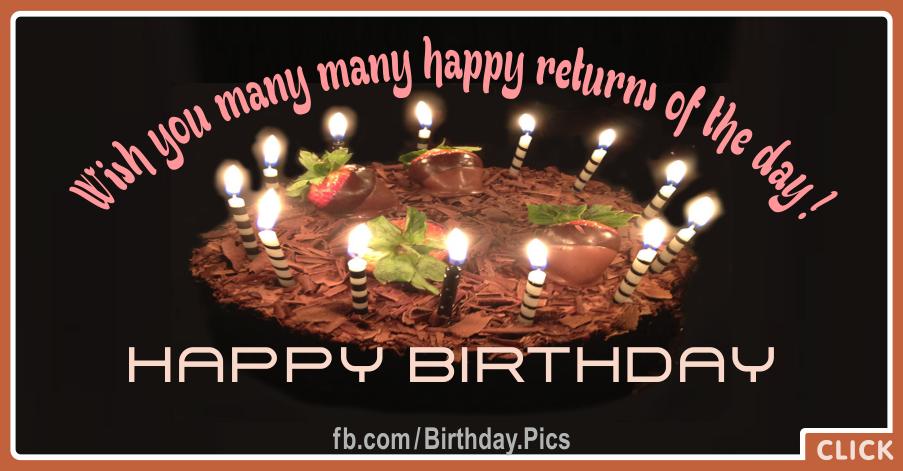 Wish Many Returns Black Happy Birthday Card