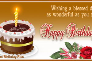 Wish Blessed Day Golden Happy Birthday Card For You