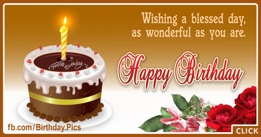 Wishing Blessed Day Happy Birthday Card