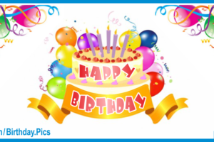 Yellow Cake Colorful Balloons Happy Birthday Card