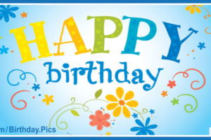 Yellow Flower On Blue Happy Birthday Card