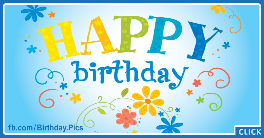 Yellow Flower On Blue Happy Birthday Card for celebrating