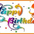 Yellow Purple Blue Happy Birthday Card