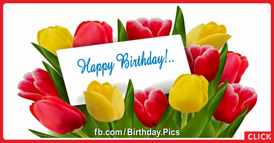 Yellow Red Tulips Happy Birthday Card for celebrating