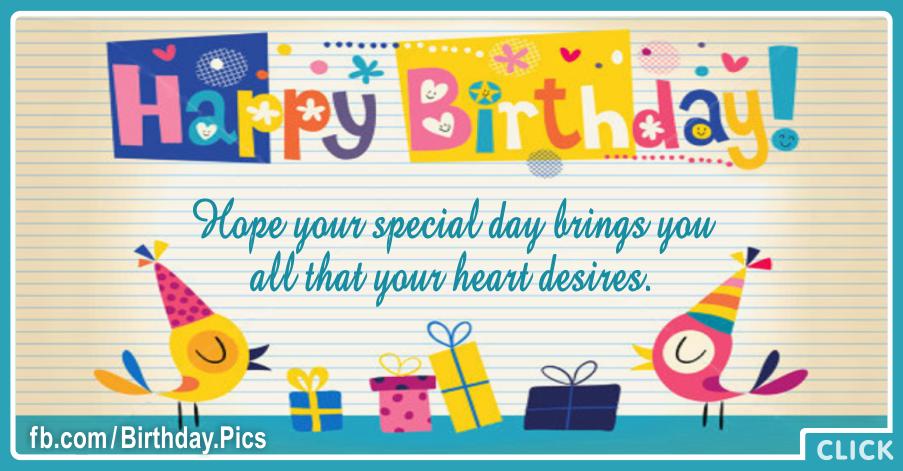 Your Heart Desire Happy Birthday Card