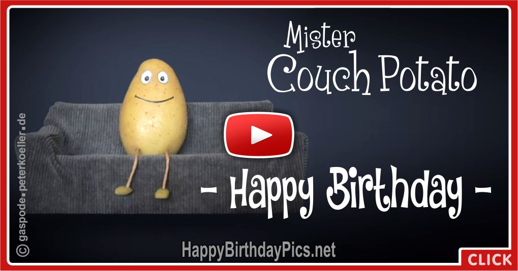 Mister Couch Potato Birthday Song Animation