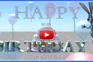 Happy Birthday Cake 3D Animation With A Bunny