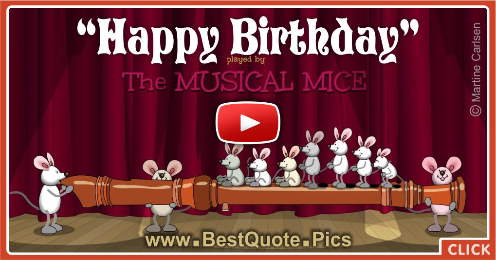 musical mice are playing flute for your birthday   happy