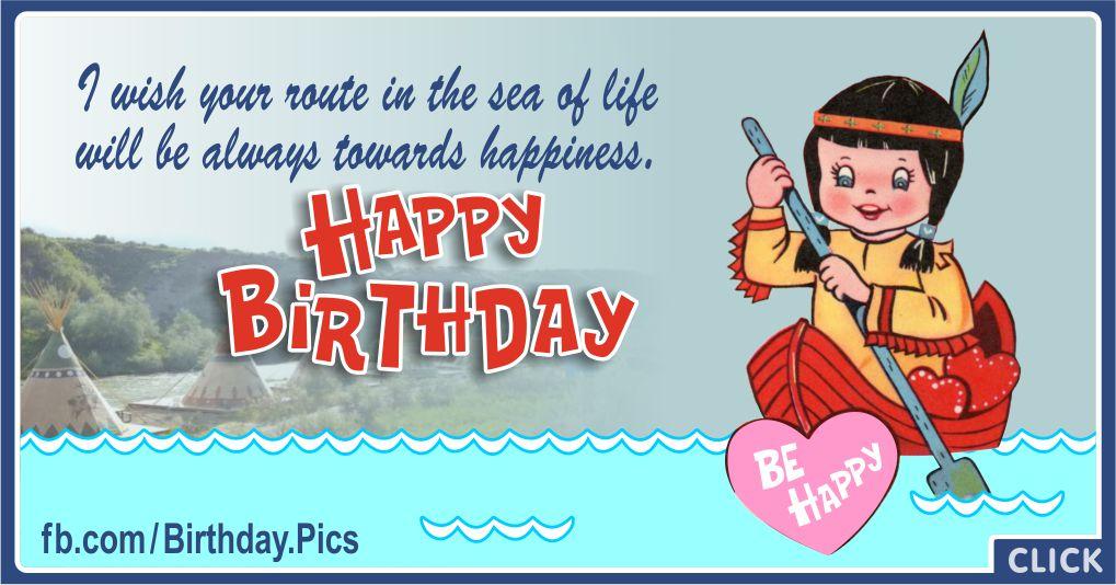 Happy Birthday - Native American Girl in Canoe Greeting