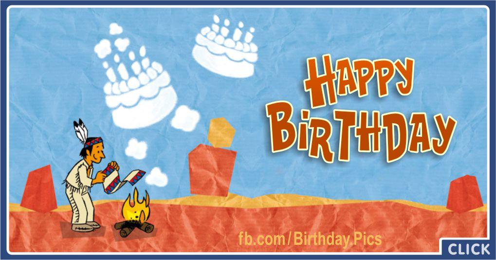 Native American Smoke Signal - Happy Birthday Greeting