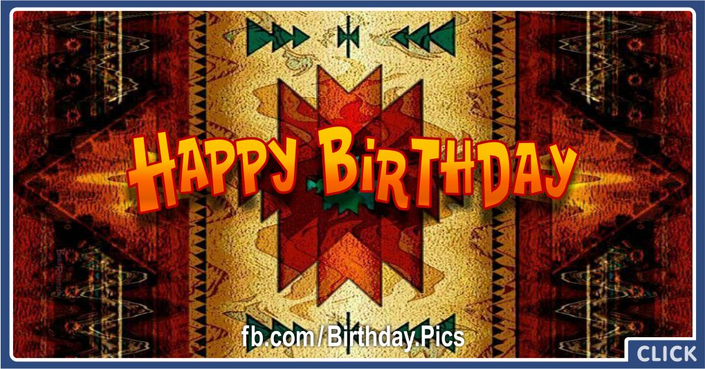 Birthday Card with Native American Rug Pattern Greeting