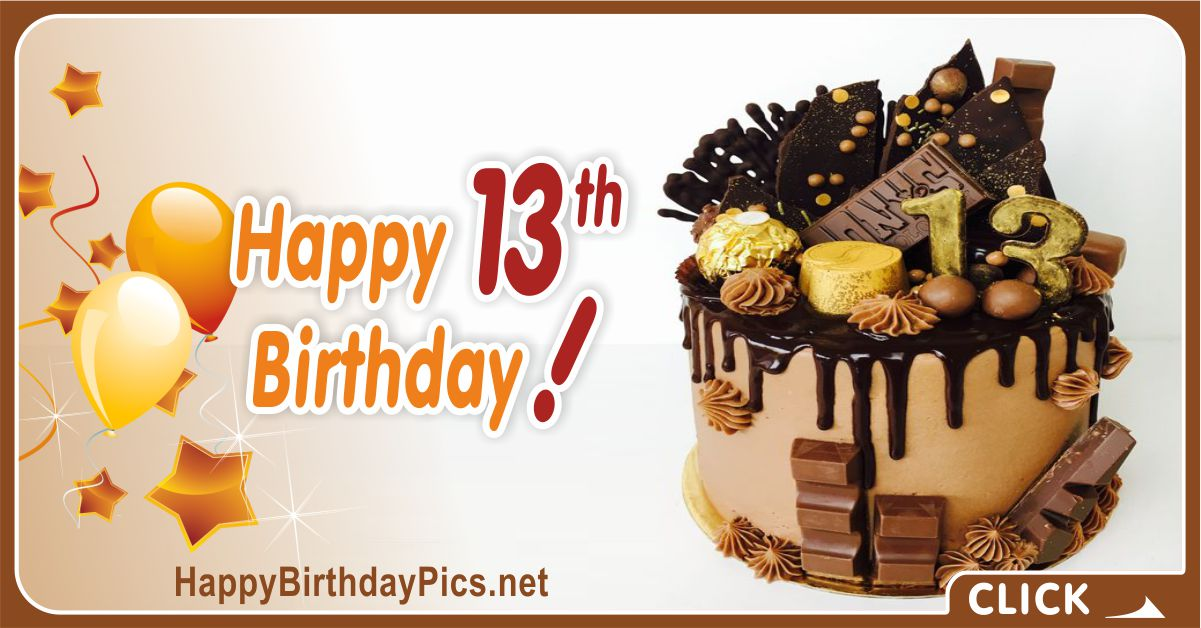 13th-Birthday Card with Chocolate Cake Equivalents